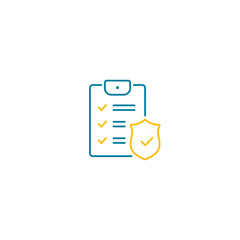 Checklist with shield line icon, Insurance policy concept, data document security. illustration