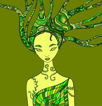 Fantasy woman forest shaman.