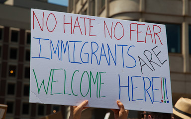 No Hate No Fear. Immigrants are welcome here