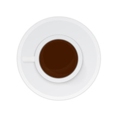 Realistic cup of coffee espresso isolated on white background. Top view. Morning, breakfast or break concept. Flat lay vector illustration.Design template for your design projects.