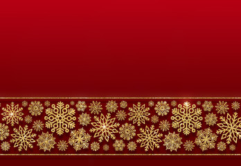 Christmas border of golden snowflakes on a red background. Volumetric 3D gold snowflakes. Holiday background for your design.