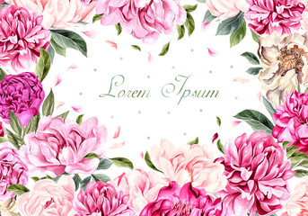 Beautiful watercolor card with peony flowers.