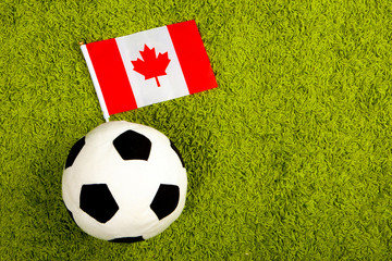 Soccer ball with the flag of Canada. Football in Canada. Soccer ball on a green lawn. Flag of Canada.