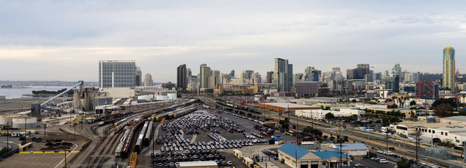 San Diego California Downtown City Skyline Including Port and Railroad Terminal