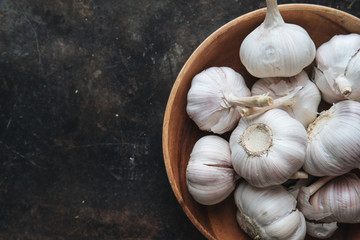 Garlic bulb with rustic background