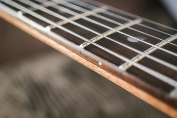 Close-up of Guitar fretboard