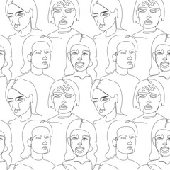 Seamless Pattern with Woman Faces One Line Art Portrait. Female Facial Expression. Hand Drawn Linear Woman Silhouette Background. Vector illustration