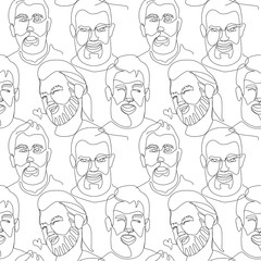 Seamless Pattern with Bearded Man Portrait One Line Art. Male Facial Expression. Hand Drawn Linear Man Silhouette Background. Vector illustration