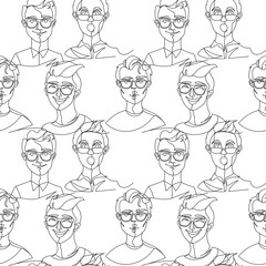 Seamless Pattern with Man in Eyeglasses Portrait One Line Art. Male Facial Expression. Hand Drawn Linear Man Silhouette Background. Vector illustration