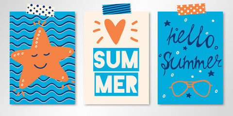 Set of three vector bright summer cards with starfish, flashing heart and hand written text. All isolated and layered Wall mural
