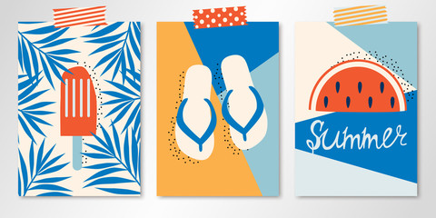 Set of three taping vector summer cards with ice cream in palm leaves, sandals and watermelon. All isolated and layered