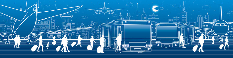 Airport panorama. Passengers enter and exit to the bus. Aviation travel transportation infrastructure. The plane is on the runway. Night city on background, vector design art