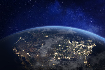 North America at night viewed from space with city lights showing human activity in United States (USA), Canada and Mexico, New York, California, 3d rendering of planet Earth, elements from NASA Wall mural