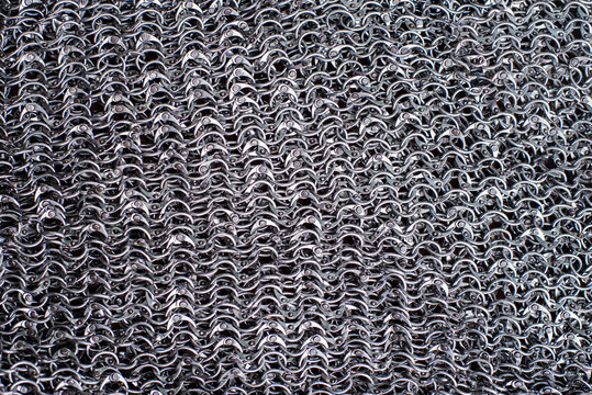links of metal chain mail for the background