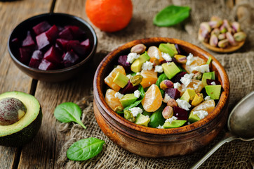 Spinach mandarin beet Feta pistachios salad