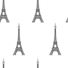 Eiffel tower seamless pattern. Vector illustration.