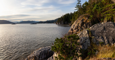 Beautiful panoramic view of the rocky coast viewed from Lighthouse Park. Taken in Horseshoe Bay, West Vancouver, British Columbia, Canada.