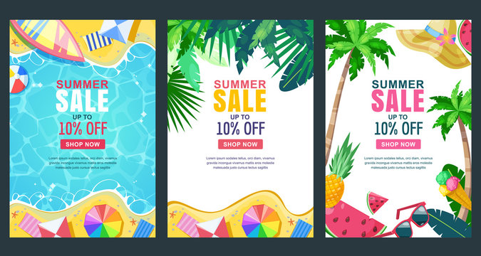 Summer sale vector poster, banner template. Season backgrounds. Tropical frame with sand beach, water, leaves and fruits