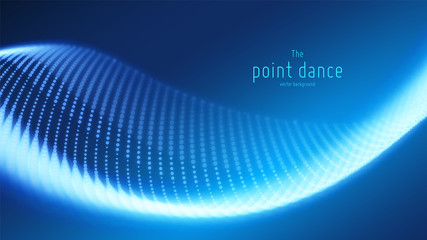 Fotoväggar - Vector abstract blue particle wave, points array, shallow depth of field. Futuristic illustration. Technology digital splash or explosion of data points. Point dance waveform. Cyber UI, HUD element.