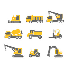construction vehicles flat design icon set isolated on white background, vector illustration