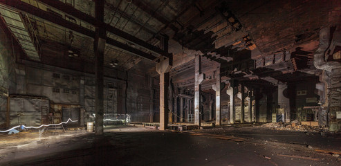 Giant abandoned after a fire in an old industrial laboratory Wall mural