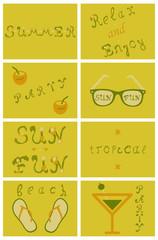 Summer tropical vector design for banner or flyer lettering.
