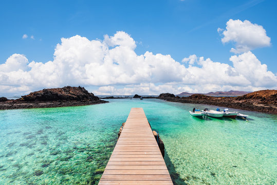 wooden jetty of the Isla de Lobos in the Canary Islands, Spain.