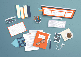 Top view of workplace background, monitor, books, notebook, headphones, phone, documents, folder, planner, calculator, coffee. Workspace, analytics, optimization, management. Vector