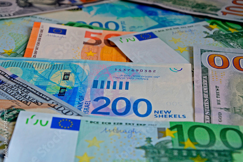 New Series Of Israeli Shekels The Euro And Us Dollars Money Background Bills 50 100 200 Close Up Selective Focus