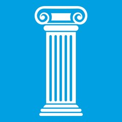 Roman column icon white isolated on blue background vector illustration