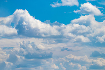 blue sky background with white clouds. close up