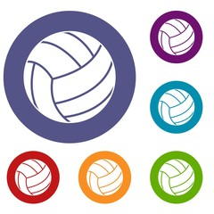 Black volleyball ball icons set in flat circle red, blue and green color for web