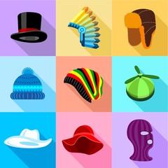 Woman amd man headdress icons set. Flat set of 9 woman amd man headdress vector icons for web with long shadow