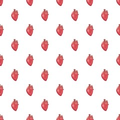 Human heart pattern seamless repeat in cartoon style vector illustration
