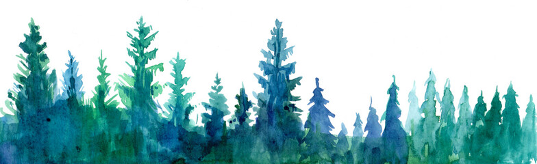 Fotobehang Aquarel Natuur Forest background. Watercolor illustration