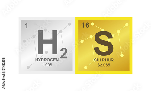 Vector Symbol Of Hydrogen Sulfide Or Sulphuretted On The Background