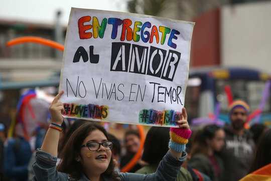 """A participant holds a sigh that reads """"Give yourself to love, don't live in fear"""" during the annual Gay Pride parade in Lima"""