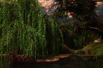 Old wooden boat floating in a pond under a willow tree, 3d render.