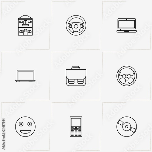 Resume line icon set with case, cell phone and laptop