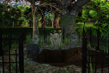 cemetery with tombstones and a freshly dug grave in the woods, 3d render.