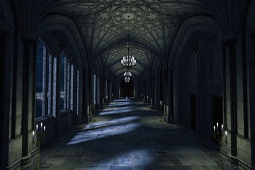 Dark Palace Hallway with lit candles and moonlight shining through the windows, 3d render. Fototapete