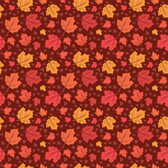 Seamless Pattern Canadian Red Maple Leaf Nature