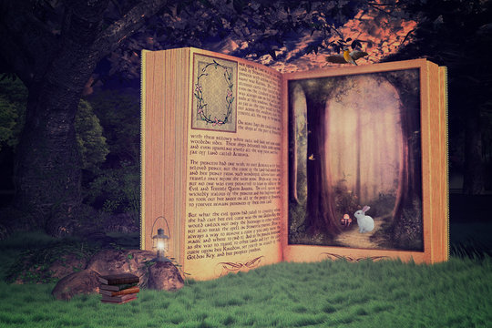 Magical open storybook in the forest, Book is leading into a magical place, 3d render.
