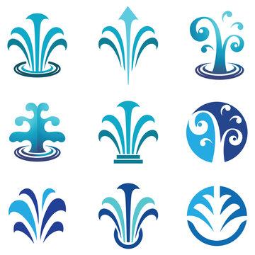 Water Spring Fountain Blue Nature Logo Symbol