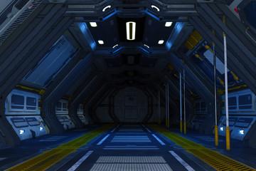 Sci-Fi Spaceship corridor background Image, 3d render.