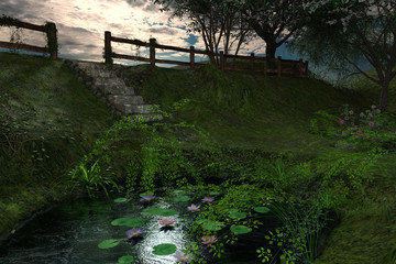 Beautiful landscape image with a pond and Lilly pads, 3d render.