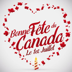 Heart Shape with Maple Leaves and Candle for Canada Day, Vector Illustration