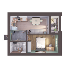 3d render plan / layout of a modern sunlit pastel colored one bedroom apartment, top view