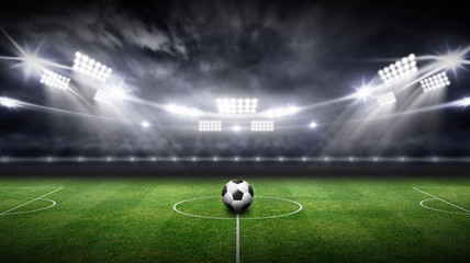 stadium 3d rendering background, Have a soccer ball in the middle of the field.
