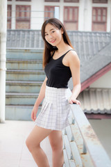 Portrait of thai china adult beautiful girl relax and smile